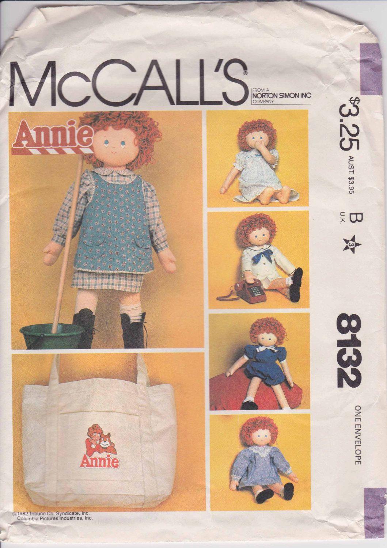 Annie Doll Clothes Pattern Fits 36 inch Annie Doll Uncut  McCalls 8132 by PrettyfulPatterns on Etsy