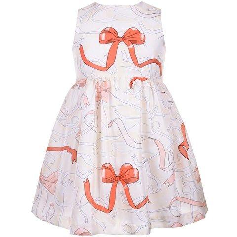 Hucklebones Cream Ribbon Printed Silk Dress