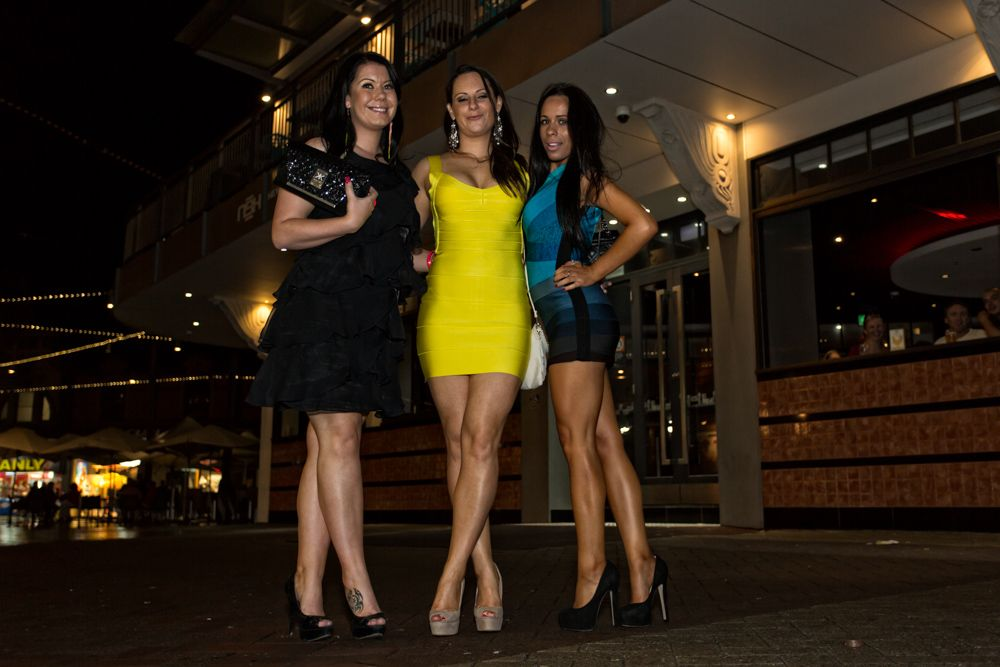 NSW: Steph Roberts, Alex Dodd and Jacinta Lagane taken outside Manly Steyne Hotel by Jean-Paul de Ronserail Face 2 Face Photographic Solutions.