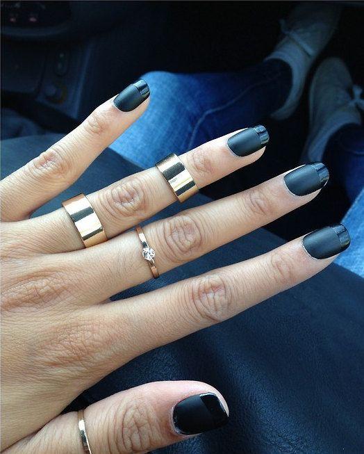 Black matte nails Etsy listing at https://www.etsy.com/listing ...