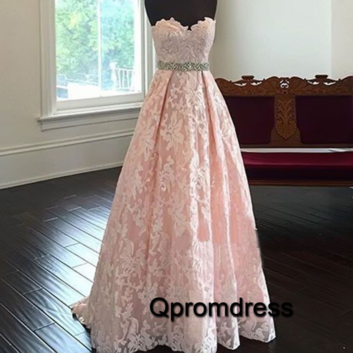 Pretty Sweetheart Neck Lace Light Pink Long Prom Dresses Evening