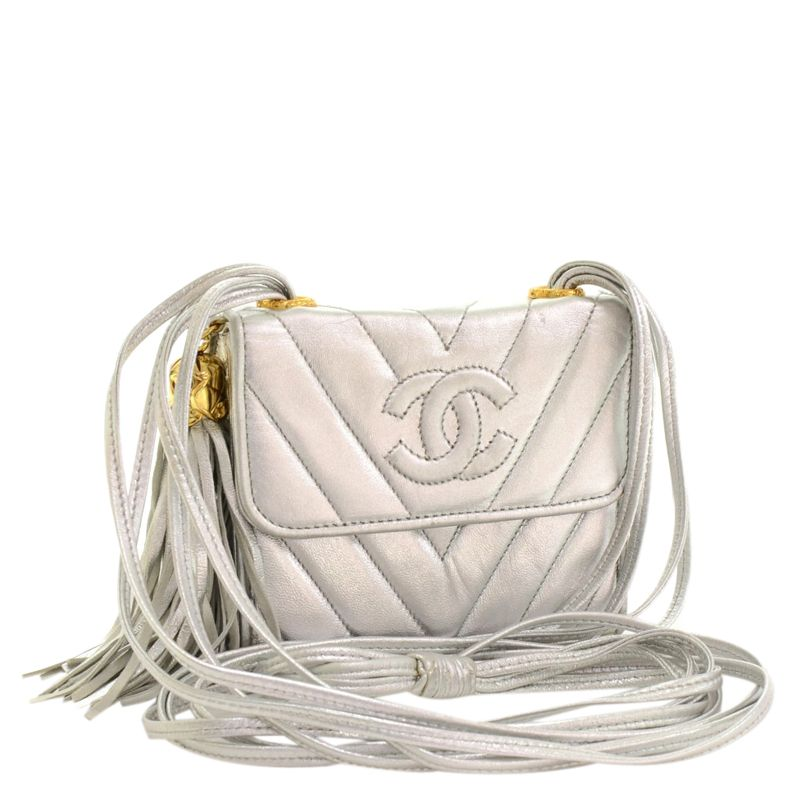 Chanel Metallic Silver Quilted Lambskin Mini Fringe Shoulder Bag - Buy & Sell - LC