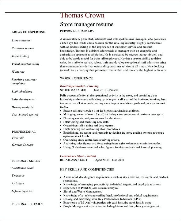 Retail Store Manager Resume Retail Store Manager Resume 2  General Manager Resume  Find The .