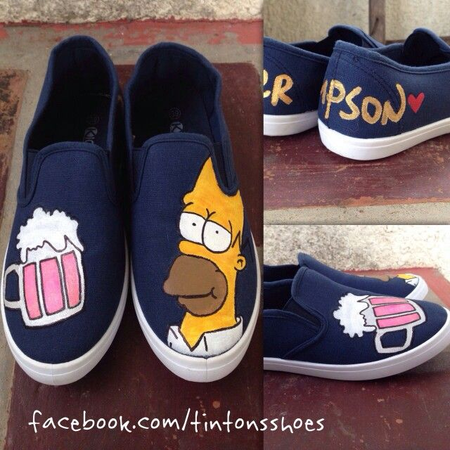 Homer simpson with his beer - TinTon's Handpainted Shoes -  Visit us  @ https://facebook.com/tintonsshoes Http://i.instagram.com/tintonsshoes/ For more shoe designs :D - Handpainted . Personalized . Customized Shoes - By: Tin & Ton