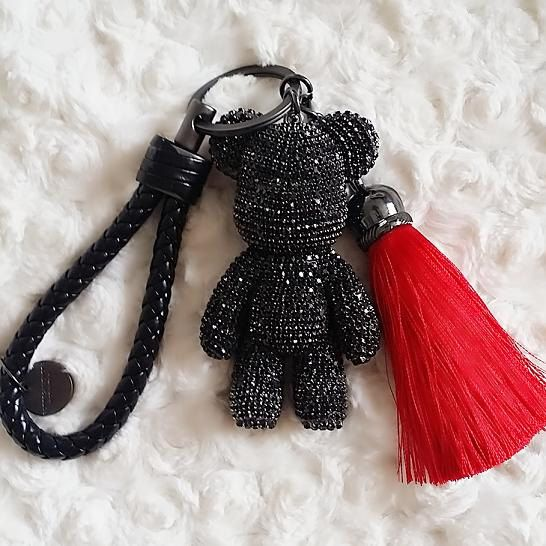 Cute Keychain Glitter Black Bear Bag Charm Key chains Glitter Black Crystal Teddy Bear with Tassel L