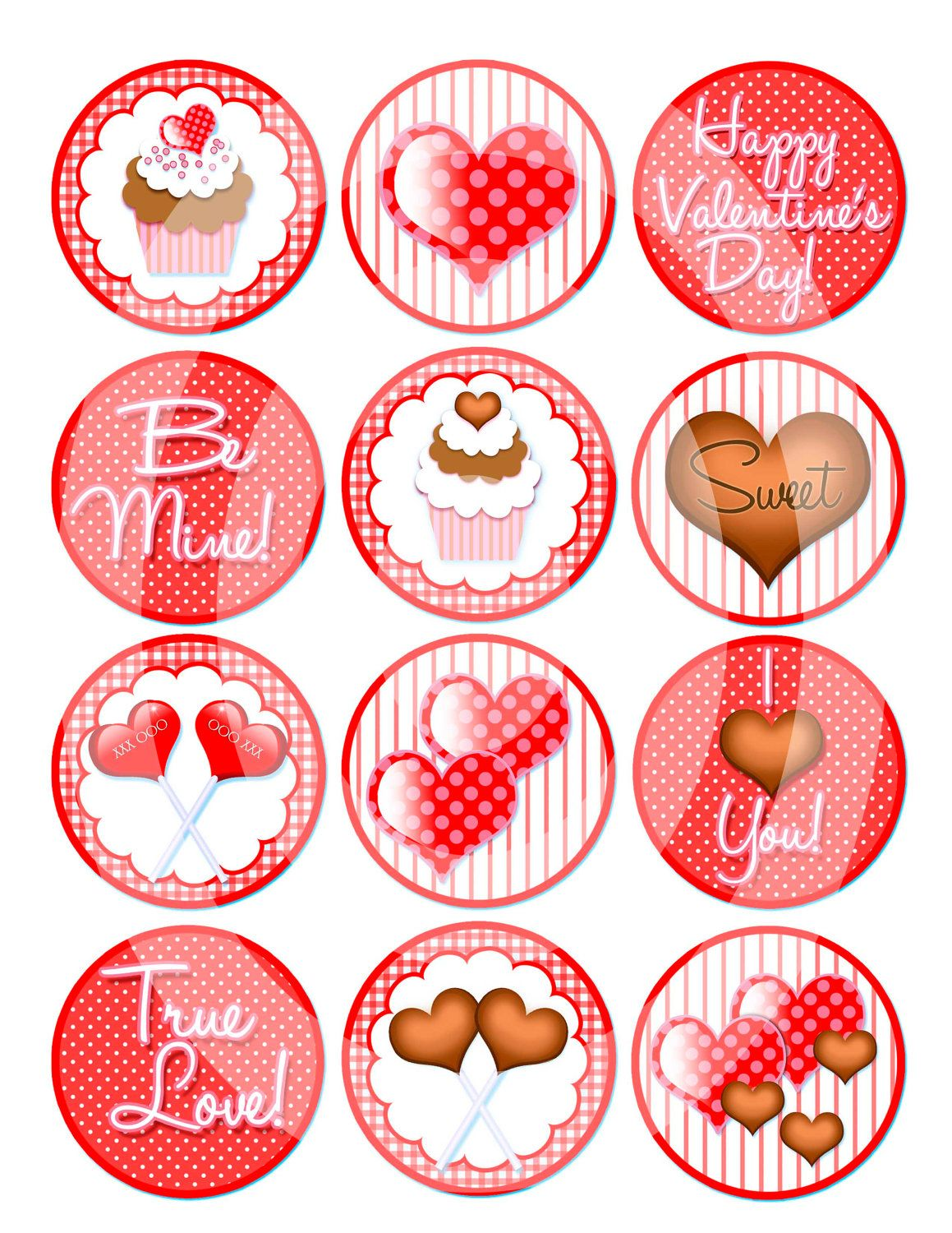 Valentine Hearts Cupcake Toppers Candy Chocolate Clipart