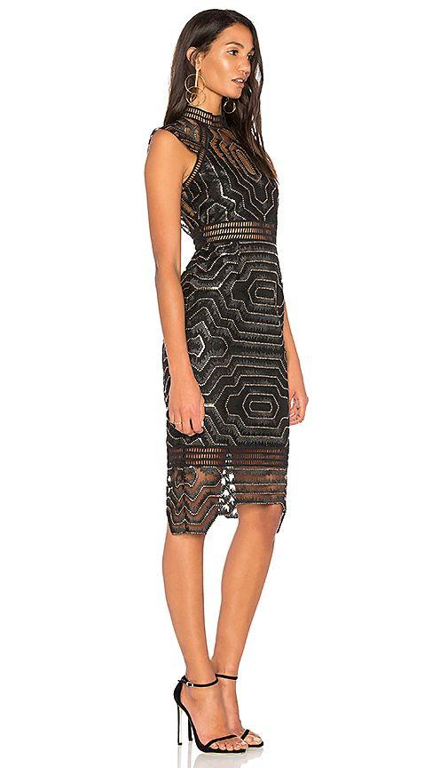 7439e70495589 Shop for SAYLOR Heloise Embellished Midi Dress in Black & Gold at ...