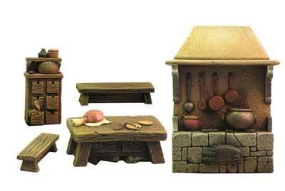 Mittelalterliche Küche Miniatur, Mittelalter und Shops