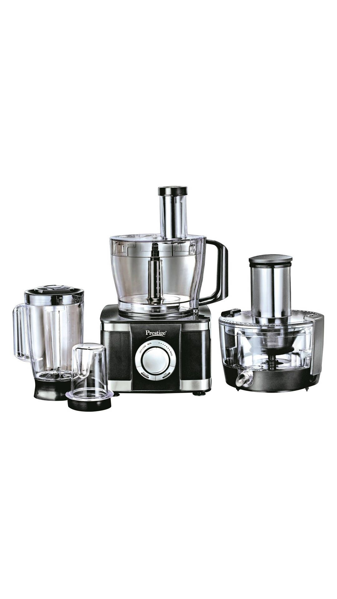 Specifications of Prestige Maestro Max 800 W Food Processor : Function : Grinding, Wet Grinding, Dry Grinding, Juicing, Grating, Kneading.
