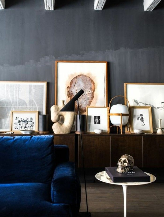 kreative moderne wandgestaltung wohnzimmer viele bilder und - wohnzimmer ideen dunkel