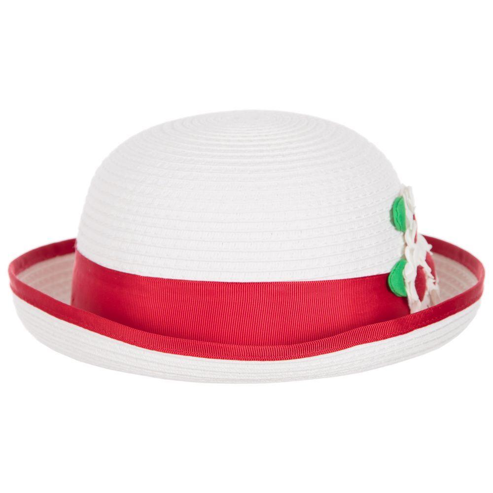 eb2074f3274d Mayoral Baby Girls White   Red Sun Hat at Childrensalon.com ...