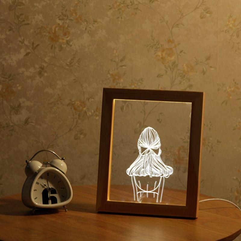 Kcasa Fl 720 3d Photo Frame Illuminative Led Night Light Girl S Back Desktop Decorative Usb Lamp For Bedroom Art Decor Led Night Light Night Light Photo Frame