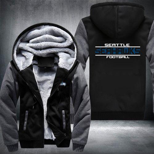 USA size Football Team Men Women Zipper Jacket Sweatshirts Thicken Fleece Hoodie Coat