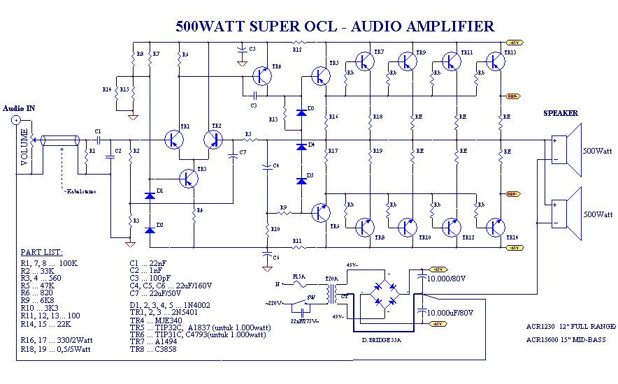 power amplifier super ocl 500w circuit hubby project audio rh pinterest com