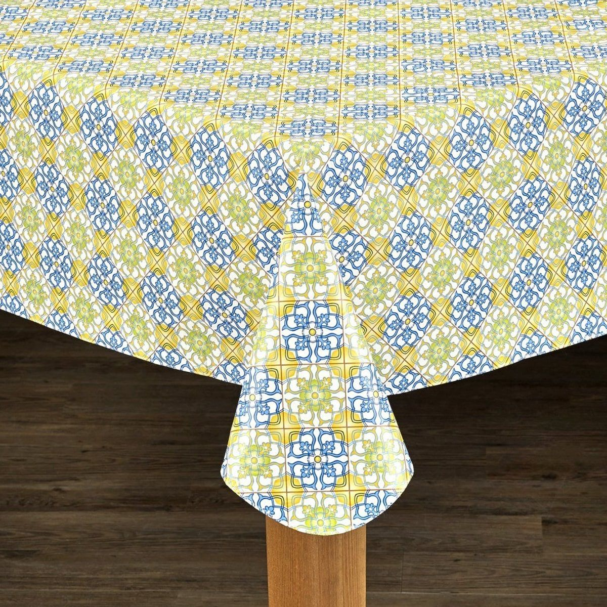 Mosaic Print Heavyweight Vinyl Tablecloth With Soft Flannel Backing