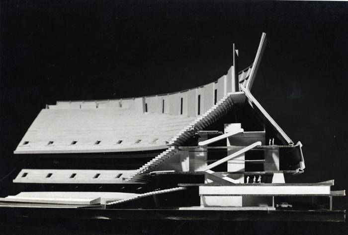 Architectural model of the Superdome, New Orleans...1970 Nathaniel C. Curtis, Jr... Photo Frank Lotz Miller.