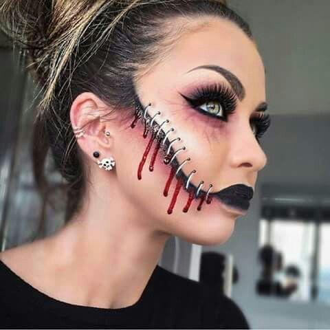 creepy stitches Maquillage de fêtes, peinture faciale et - scary diy halloween costumes