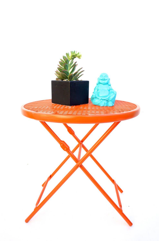 vintage orange metal mesh perfect patio side tables two