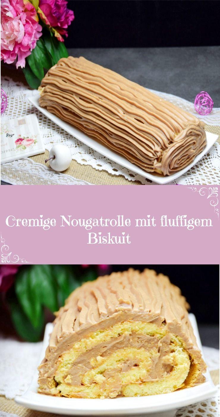 Cremige Nougatrolle mit fluffigem Biskuit #stroganoffrezepte