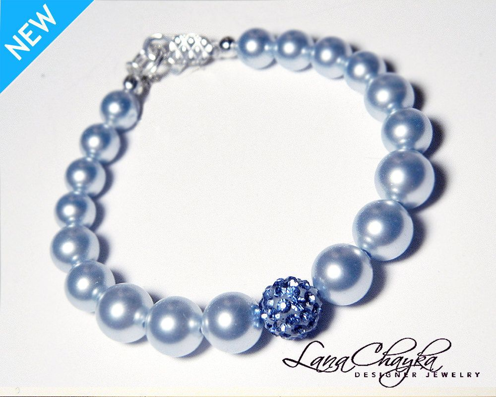 Flower girl gift bracelet swarovski light blue pearl blue crystal