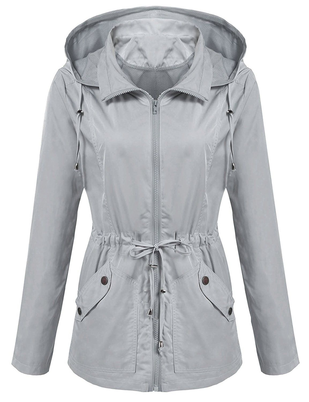 Women Casual Lightweight Long Sleeve Windbreaker Hooded Jacket With Drawstring Misty Grey Cn184hmin8u Waterproof Jacket Women Basic Jackets Rain Jacket Women [ 1500 x 1154 Pixel ]