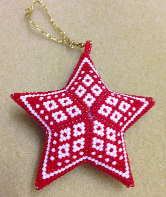 3D Peyote Star, warped square, Scandi Diamonds Star ...