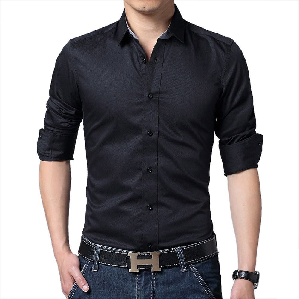 Click to buy ucuc new hot fashion brand men clothes solid color slim