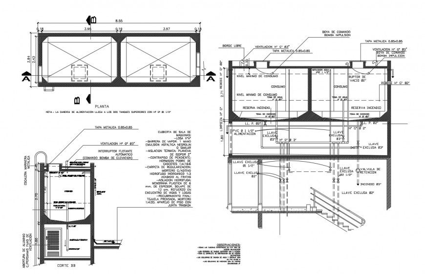 Water tank section, plan and plumbing structure cad drawing details