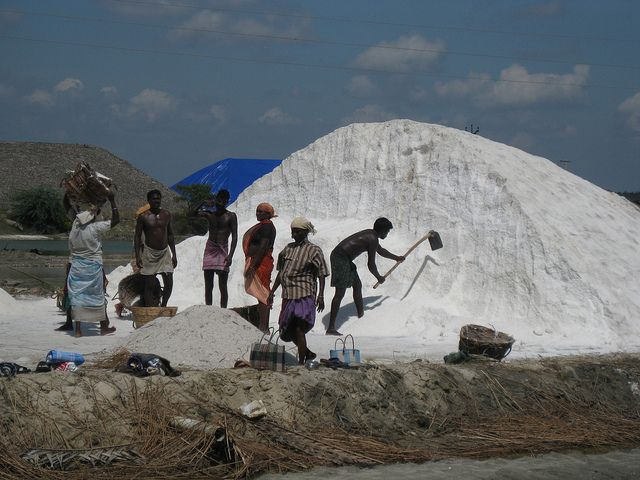 Tamil Nadu, India salt harvesting by Mirth2012, via Flickr