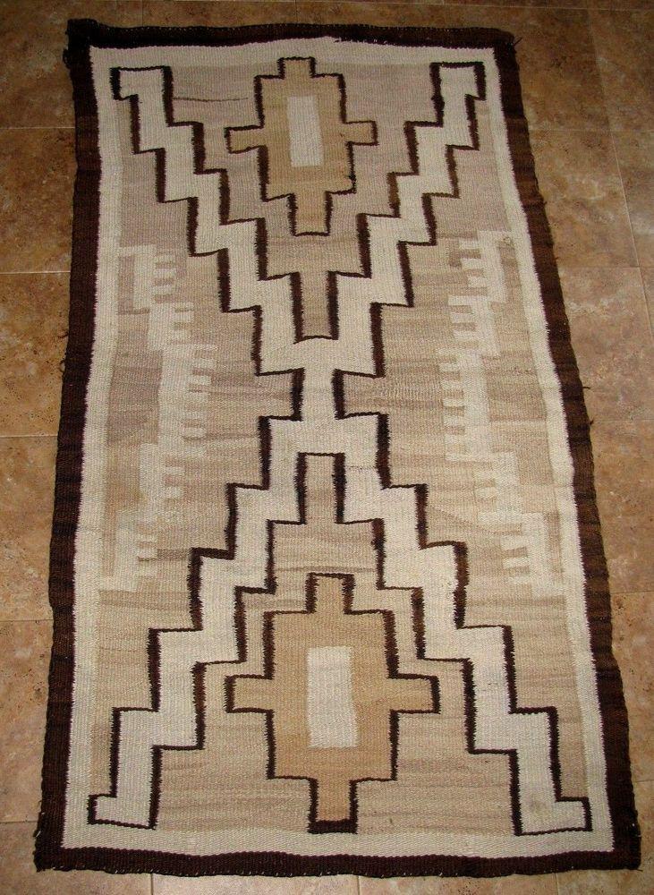 Antique Navajo Native American Crystal Rug Weaving 55 X 32 1910