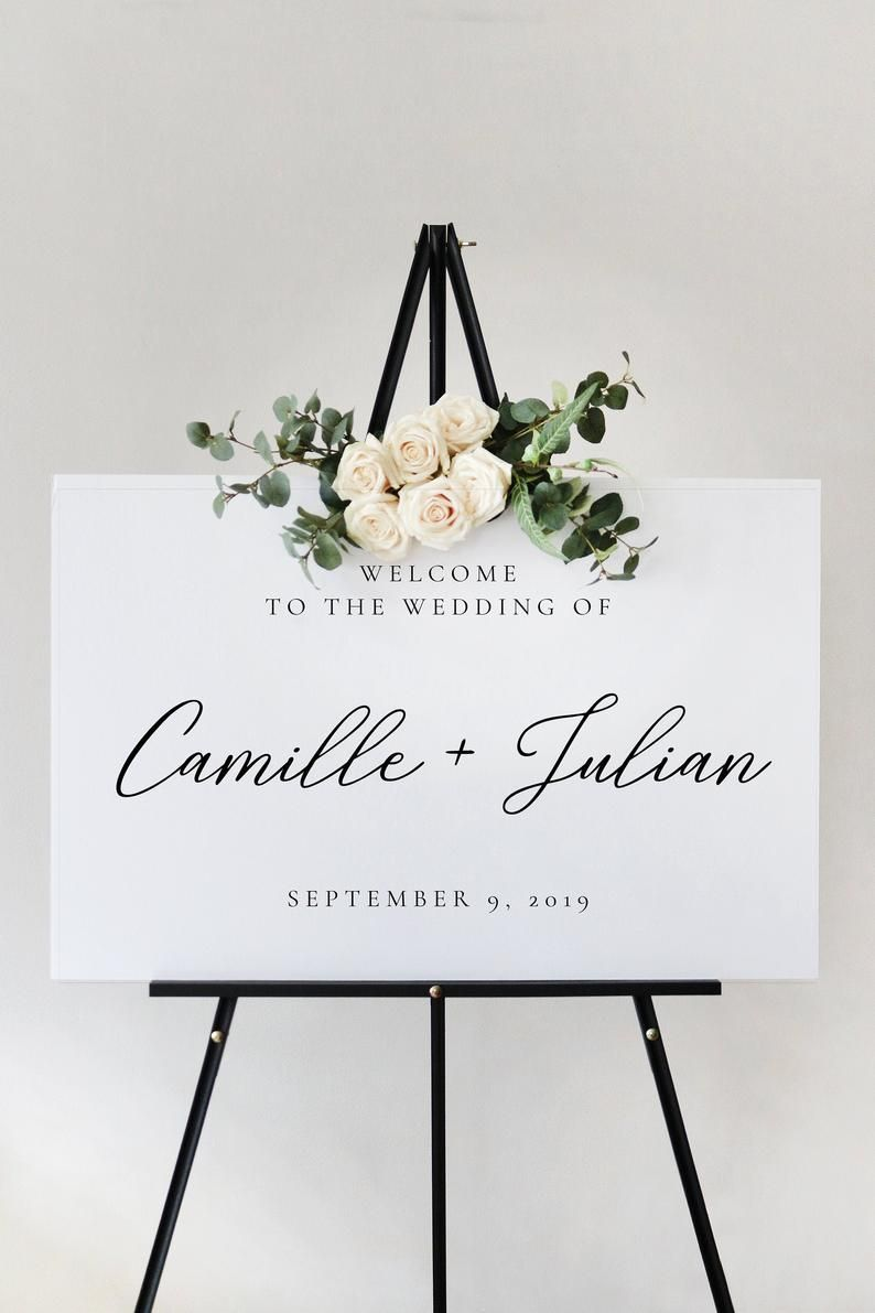 Classic Script Wedding Welcome Sign Template, Ceremony Reception Printable, Instant Download, Editable and Customizable P29 V29 PL29 G29 F29