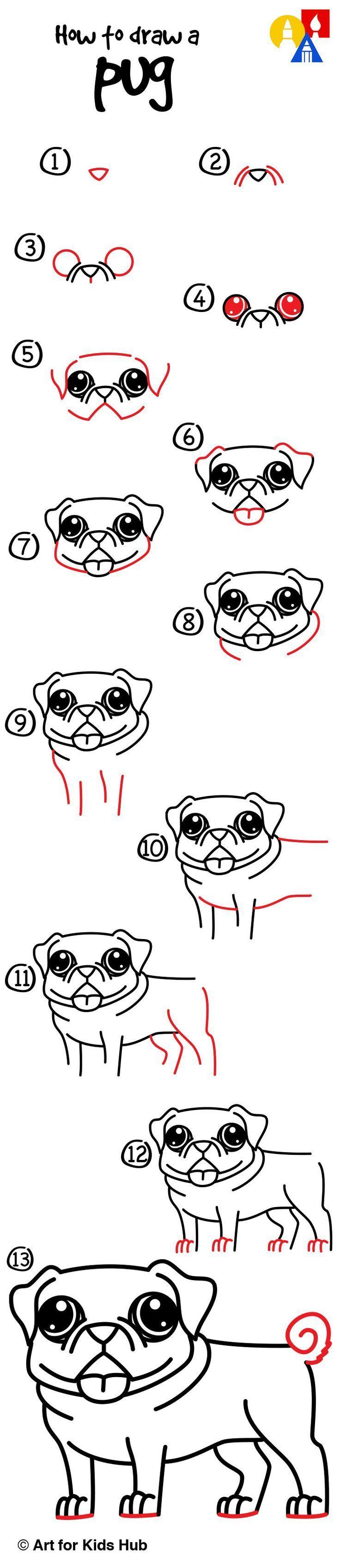 How To Draw A Pug Art For Kids Hub Pug Art Pugs Easy Drawings