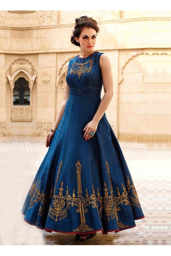 Party Wear Readymade Blue Pure Georgette Gown 16876 In 2019