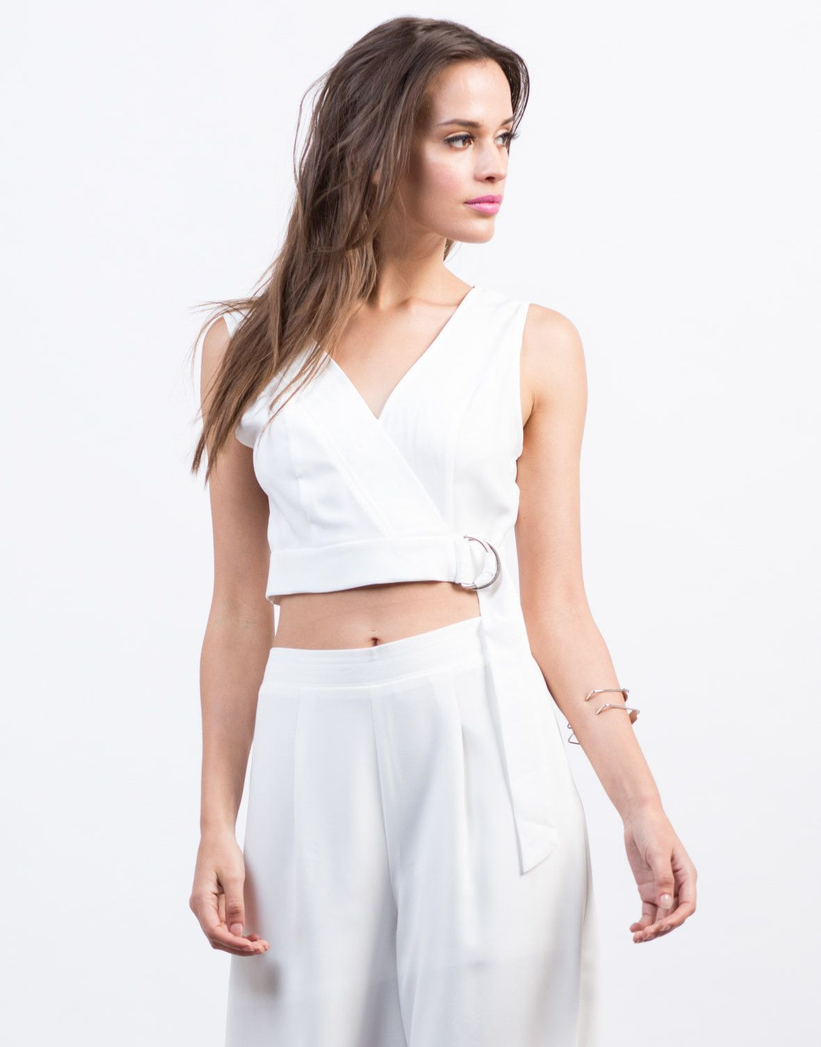 Belted Woven Crop Top