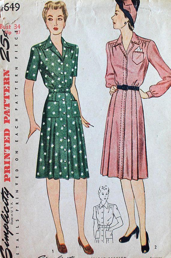 Vintage Sewing Pattern - Factory Folded 1940s Dress Pattern ...
