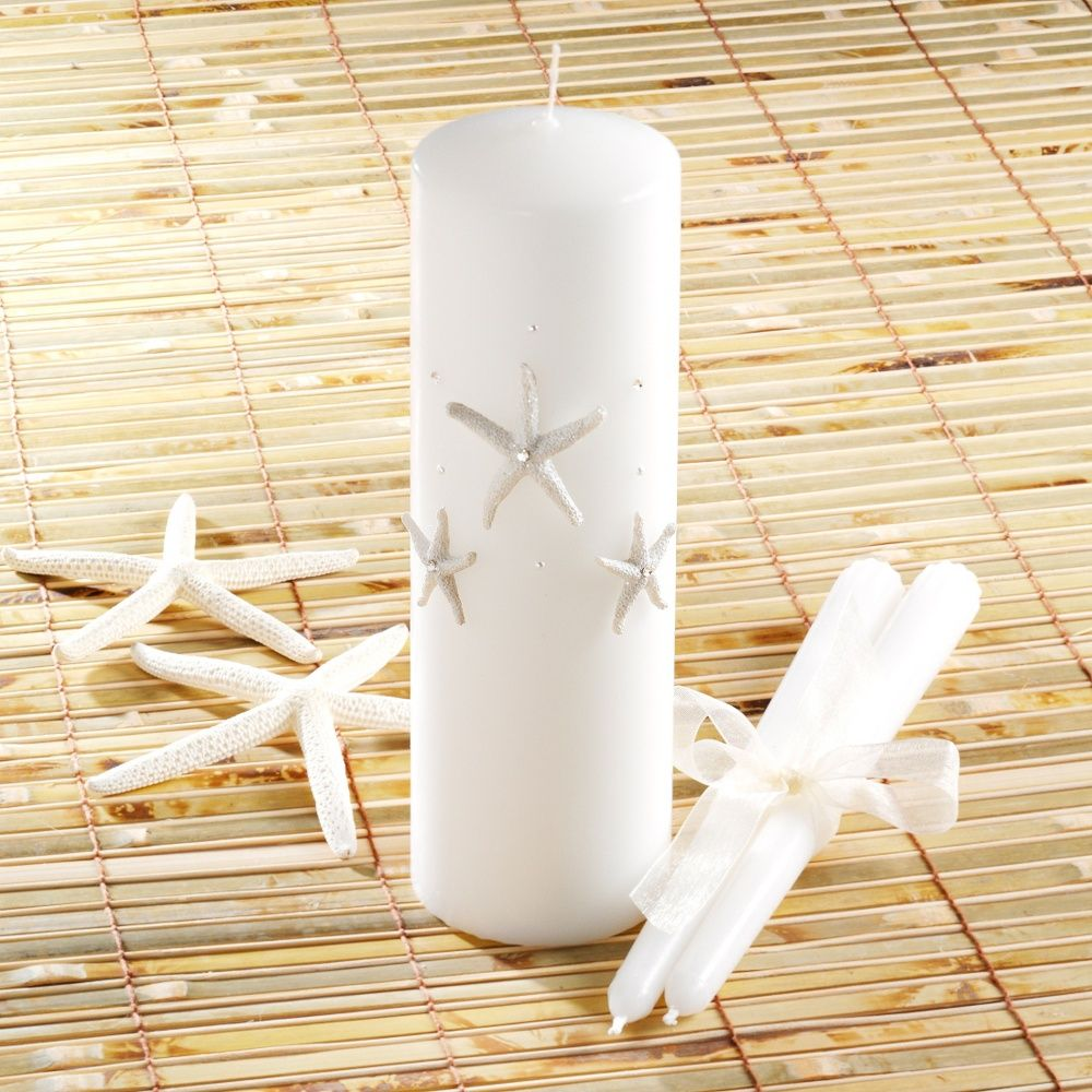 Beach Wedding Candle Ceremony: Starfish Unity Candle And Tapers Set Just Right For A