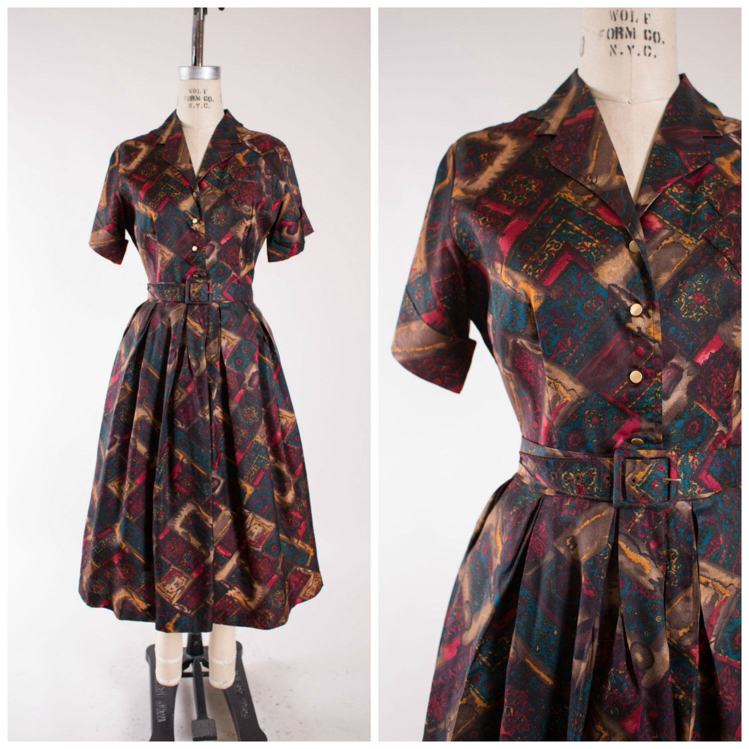 S vintage dress emerald blue ruby red abstract print vintage s