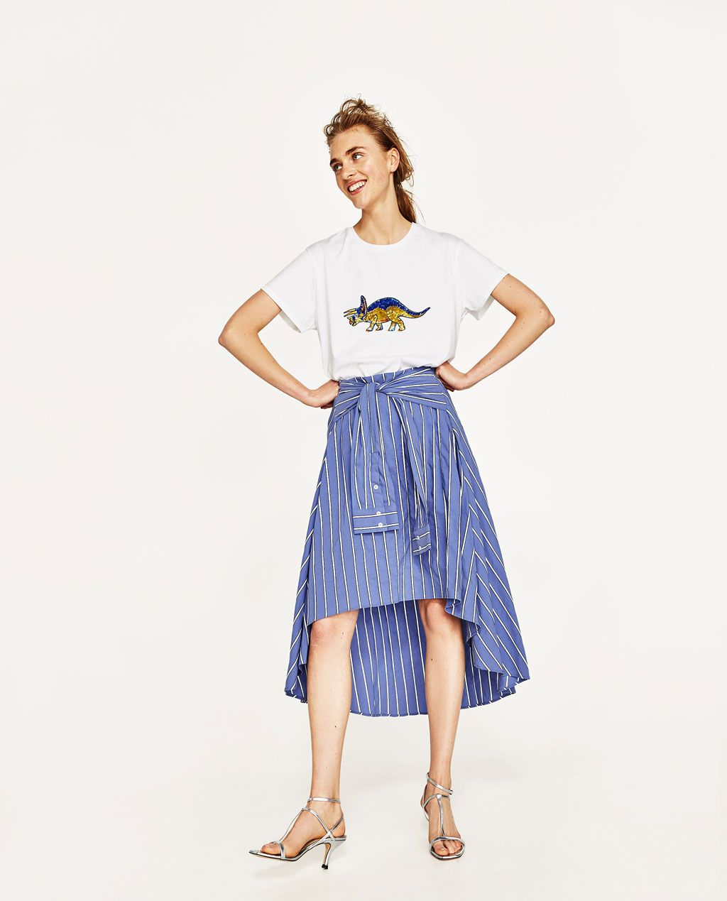 ZARA - WOMAN - STRIPED MIDI SKIRT