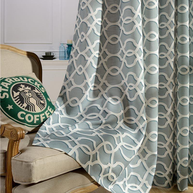 modern vorhang blaugrun wellen muster