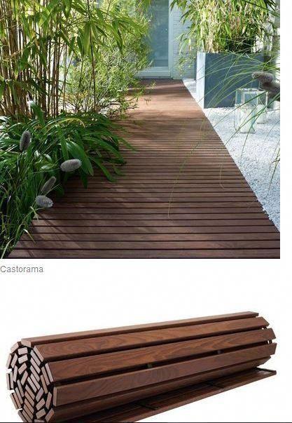 Rollbare Platte aus thermisch behandeltem Eschenholz ®. Abmessungen: 200 x 100 cm x Dicke – Terrasse ideen