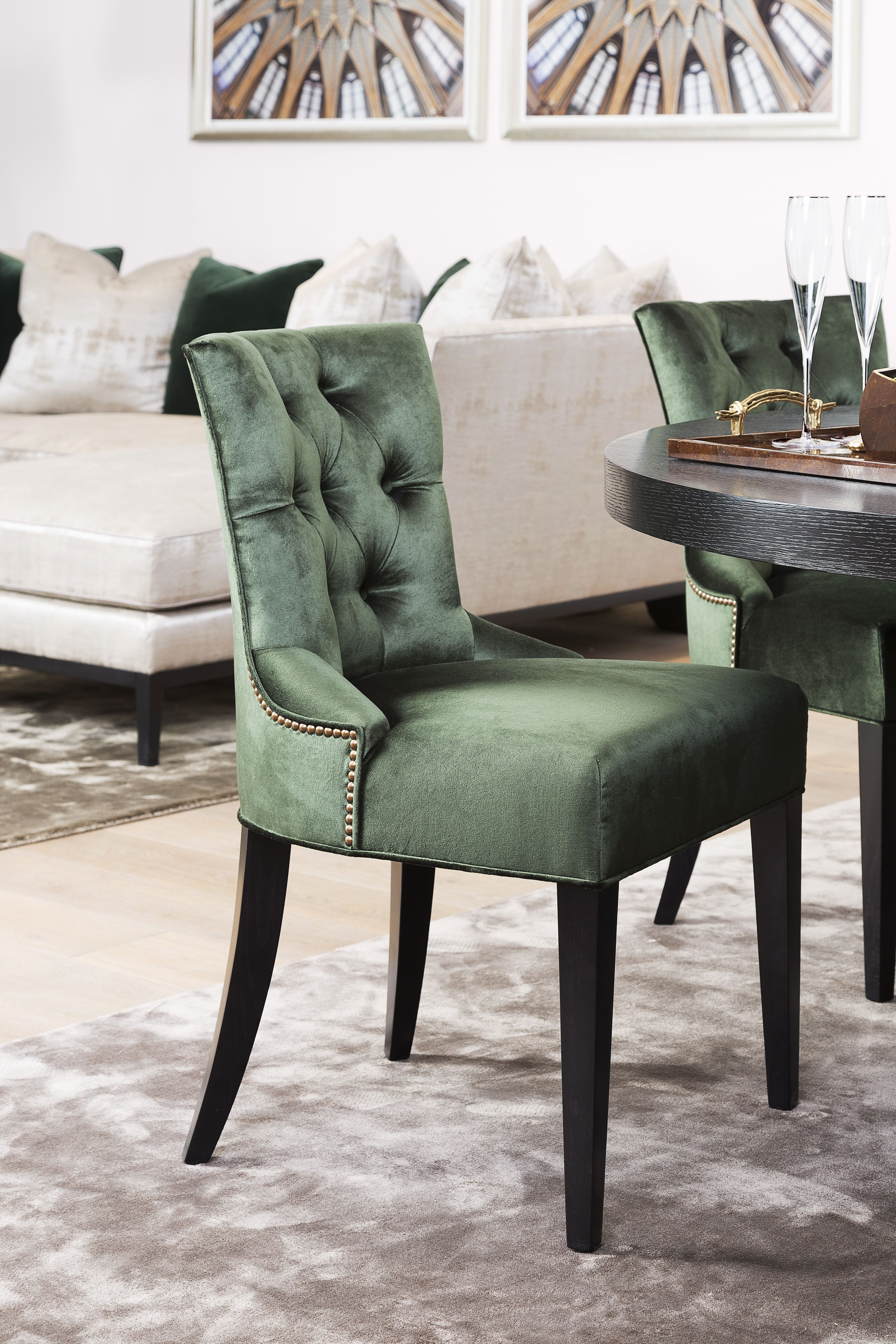 The Sofa & Chair Company - Green Deep Buttoned Dining Chair