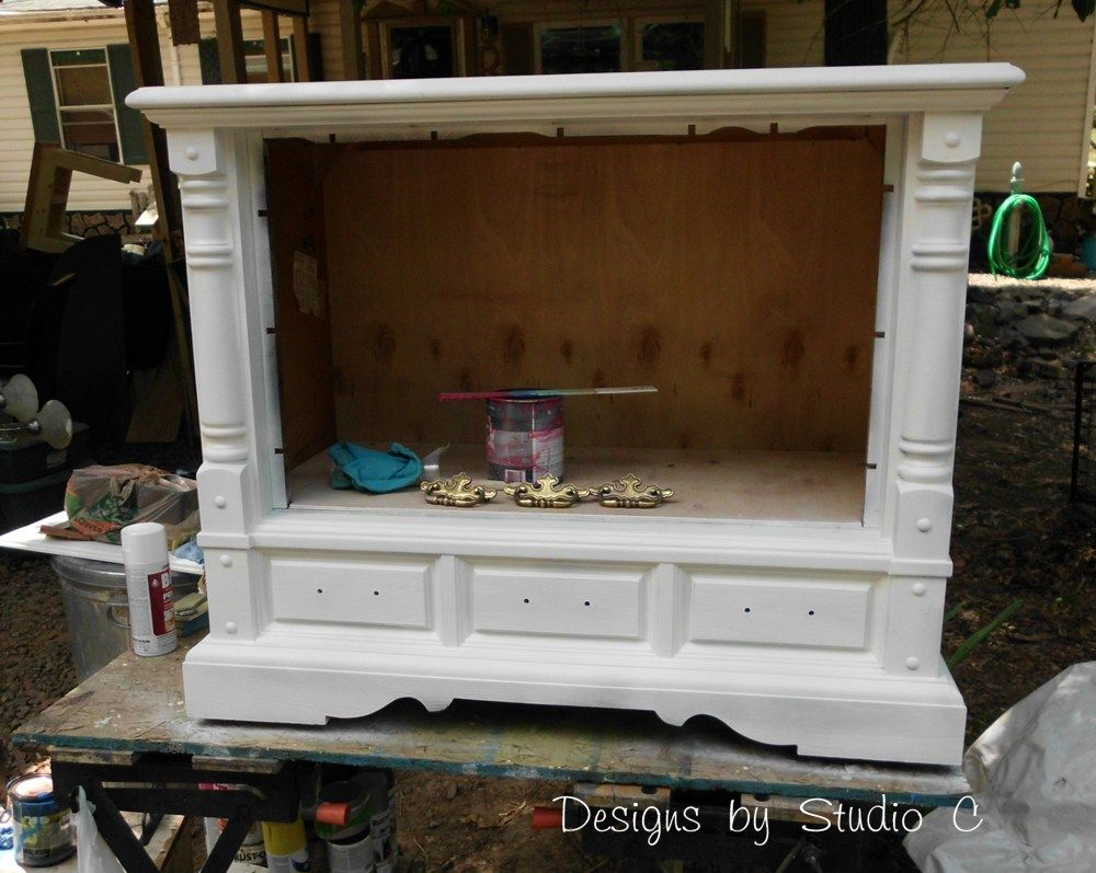How To Revamp An Old Console Tv Cabinet 8 Tv Console Makeover Tv