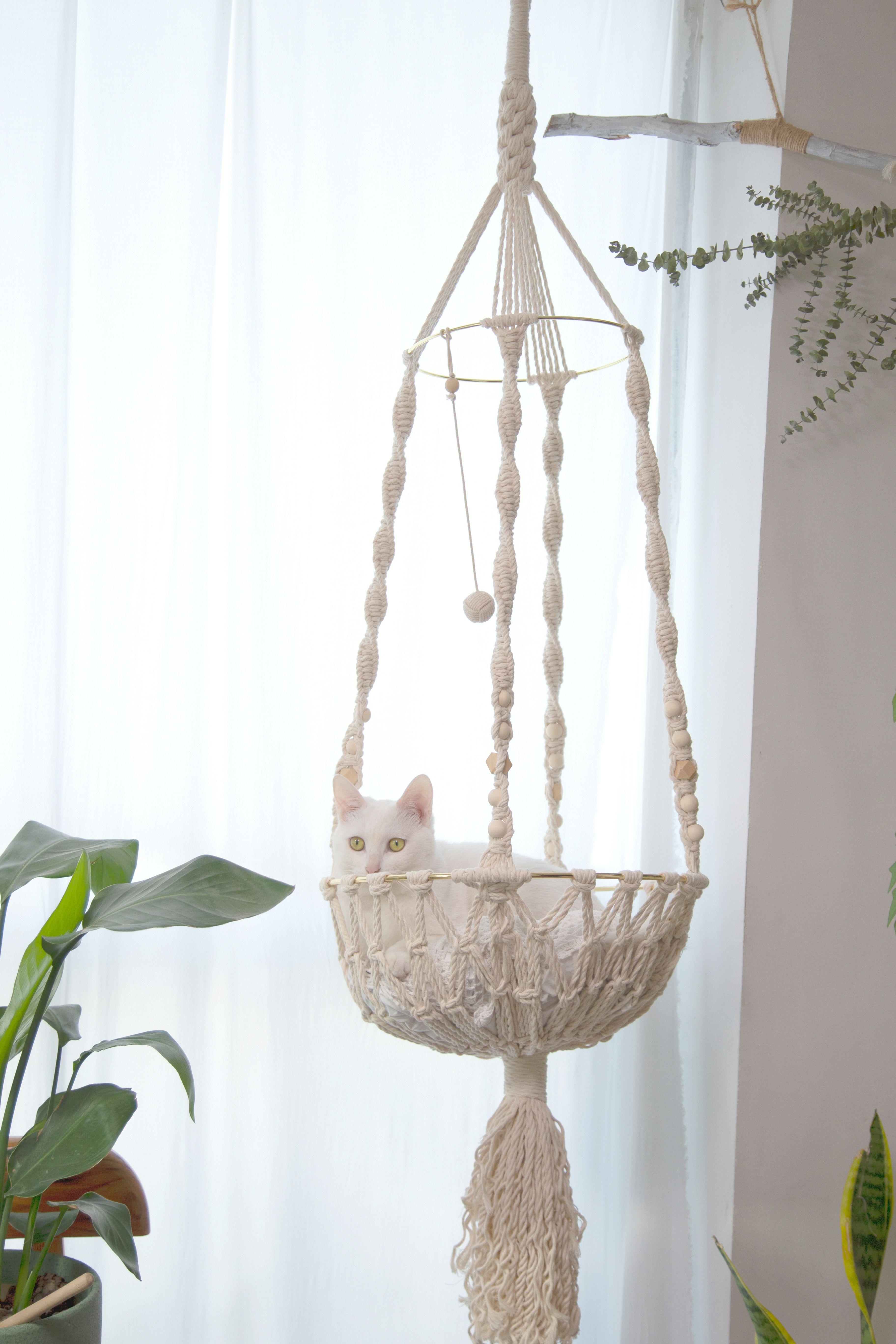 Macrame Cat Hammock Woven Hanging Dog Bed Macrame Wall Cat Swing