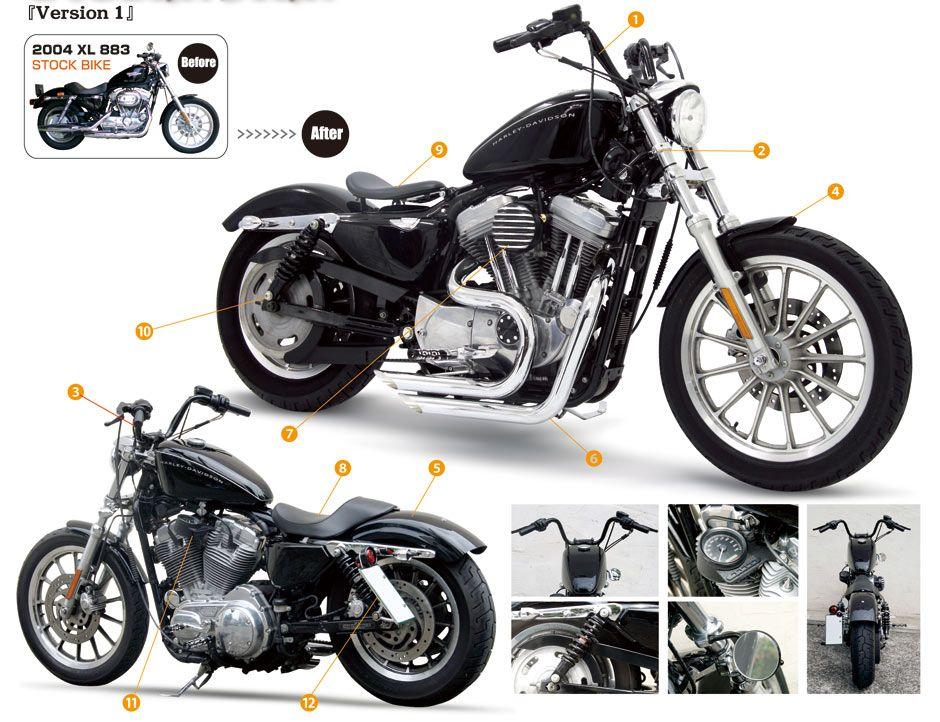 Before Affter Bolt On Parts For Xl883 Easyriders Tokyo Japan Sportster Bobber Harley Davidson Sportster Harley Davidson Iron 883