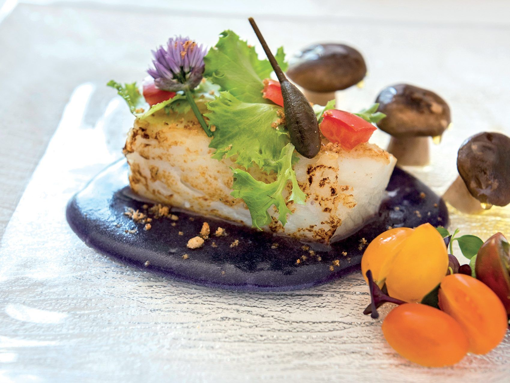 Photo of Cod Confit – on cream of veal potatoes, thistle mushrooms …