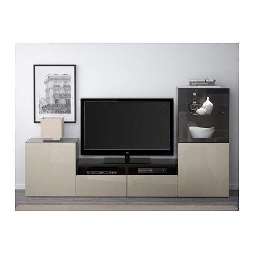 BESTÅ TV storage combination/glass doors - black-brown/Selsviken high gloss/beige clear glass, drawer runner, soft-closing - IKEA