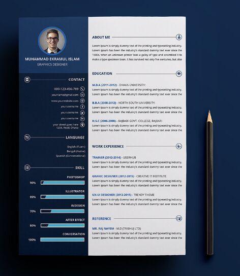 Free Customizable Print Ready Resume  CV PSD Template Pinterest