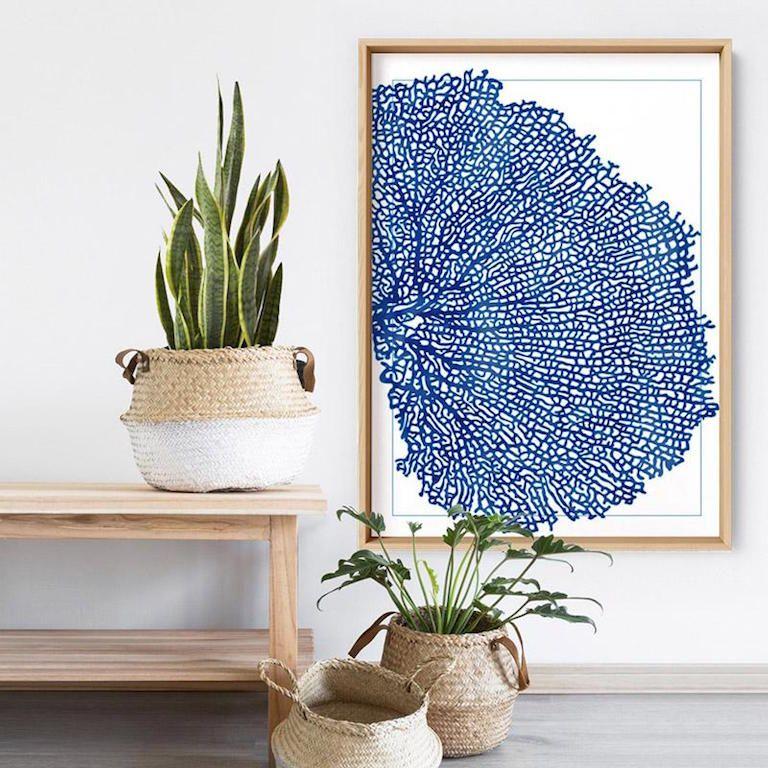 Coral sea fan blue vertical art print affordable art