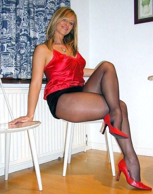 Blonde and long legs and silk stockings and pantyhose