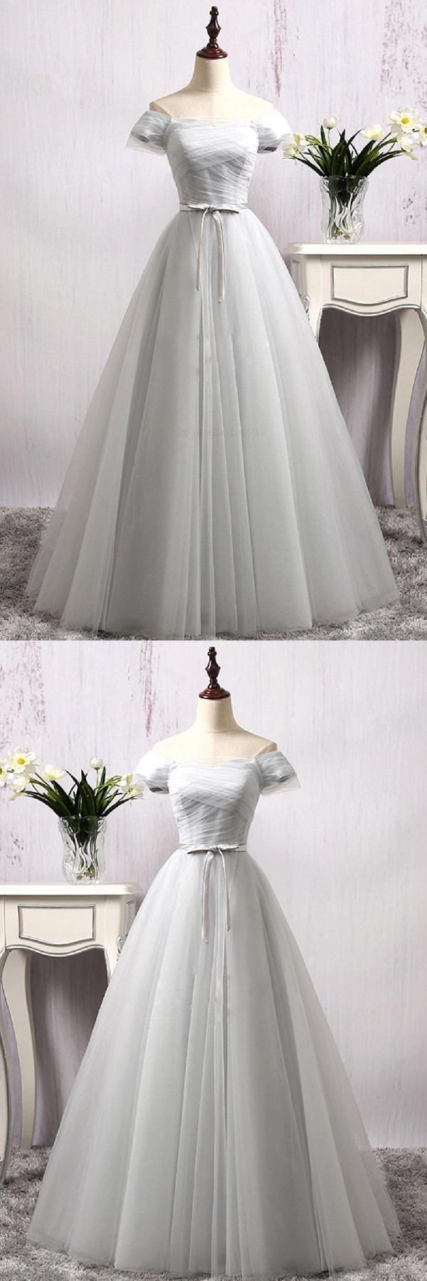Discount nice prom dresses long gray tulle long prom dress gray